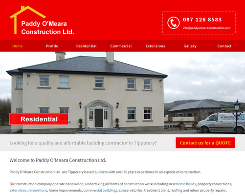 Web Design Tipperary for Paddy O'Meara Construction
